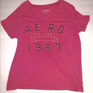 Aeropostale Pink Classic V Neck Shirt Size XXL